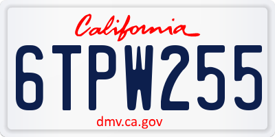 CA license plate 6TPW255