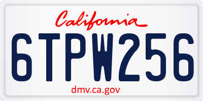 CA license plate 6TPW256