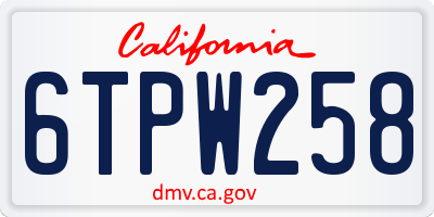 CA license plate 6TPW258
