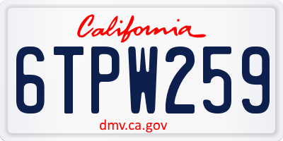 CA license plate 6TPW259