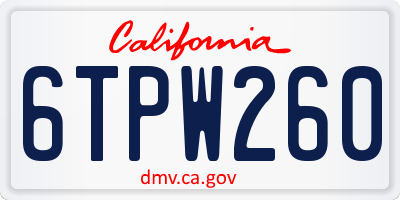 CA license plate 6TPW260