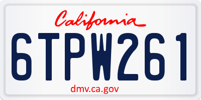 CA license plate 6TPW261