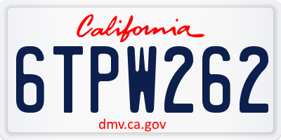 CA license plate 6TPW262