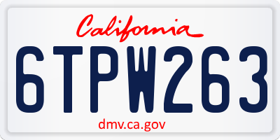 CA license plate 6TPW263