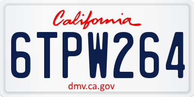 CA license plate 6TPW264