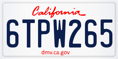 CA license plate 6TPW265