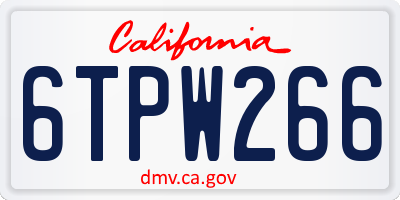 CA license plate 6TPW266
