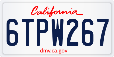 CA license plate 6TPW267