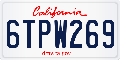CA license plate 6TPW269