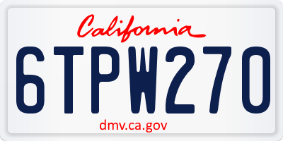 CA license plate 6TPW270