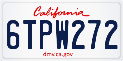 CA license plate 6TPW272