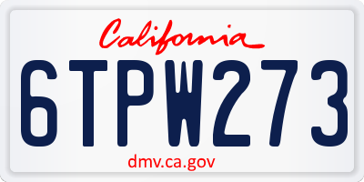 CA license plate 6TPW273