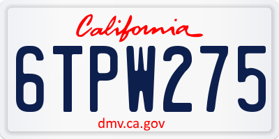 CA license plate 6TPW275