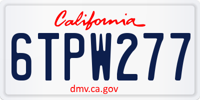 CA license plate 6TPW277