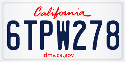 CA license plate 6TPW278