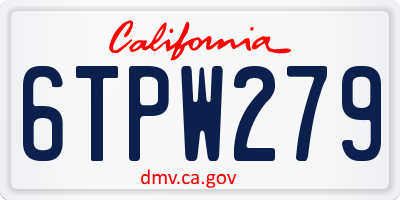 CA license plate 6TPW279