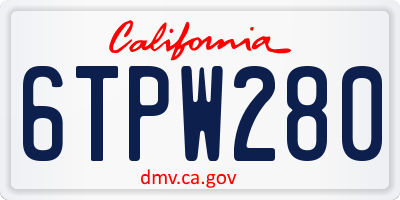 CA license plate 6TPW280