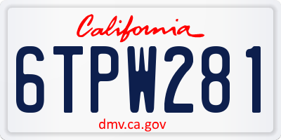 CA license plate 6TPW281