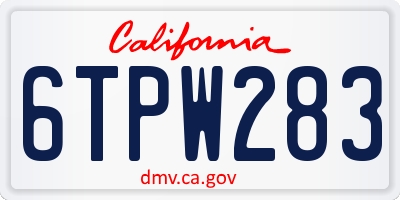 CA license plate 6TPW283