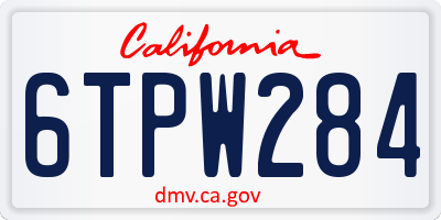CA license plate 6TPW284