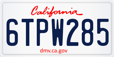 CA license plate 6TPW285