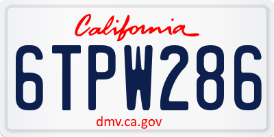 CA license plate 6TPW286
