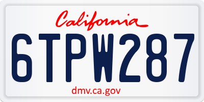 CA license plate 6TPW287