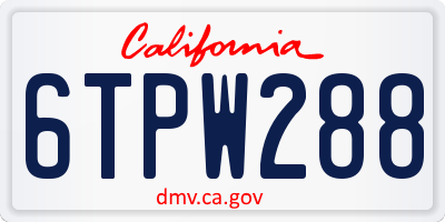 CA license plate 6TPW288