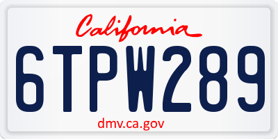 CA license plate 6TPW289