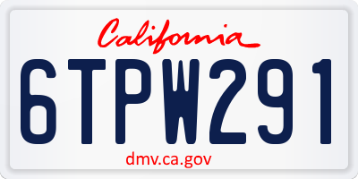 CA license plate 6TPW291