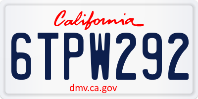 CA license plate 6TPW292