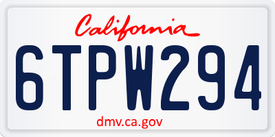 CA license plate 6TPW294