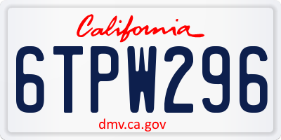 CA license plate 6TPW296