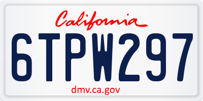 CA license plate 6TPW297