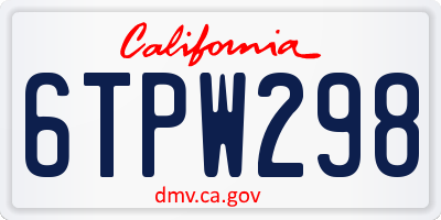 CA license plate 6TPW298