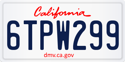 CA license plate 6TPW299