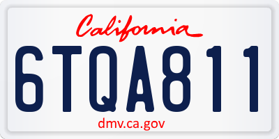 CA license plate 6TQA811