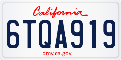 CA license plate 6TQA919