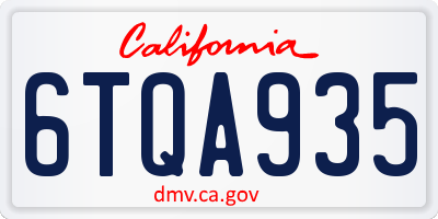 CA license plate 6TQA935