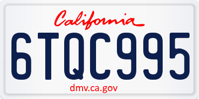 CA license plate 6TQC995