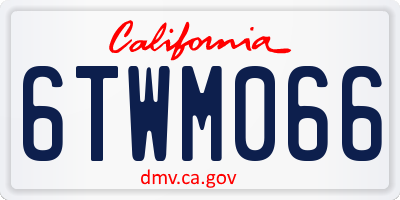 CA license plate 6TWM066