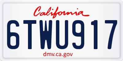 CA license plate 6TWU917