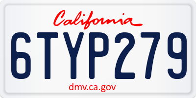 CA license plate 6TYP279