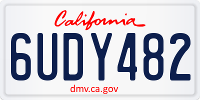 CA license plate 6UDY482