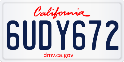 CA license plate 6UDY672