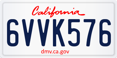 CA license plate 6VVK576