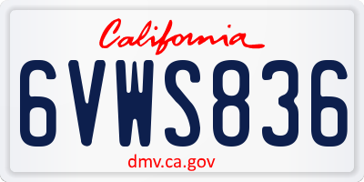 CA license plate 6VWS836