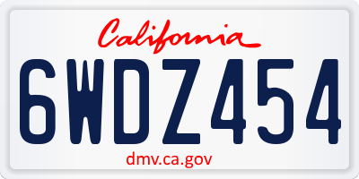 CA license plate 6WDZ454