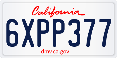 CA license plate 6XPP377