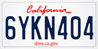 CA license plate 6YKN404